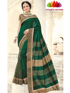 Designer Fancy Soft Silk Saree - Dark Green ANA_727