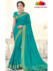 Designer Fancy Soft Silk Saree - Turquoise Blue ANA_739
