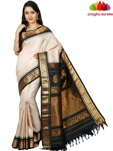 Anagha Sarees Gadwal Silk Pure Gadwal Silk Saree - Light Beige  ANA_D92