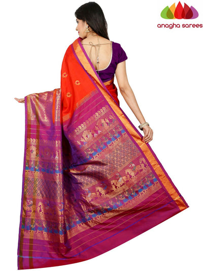 Pure Gadwal Silk Saree - Orange  ANA_D94 - Anagha Sarees