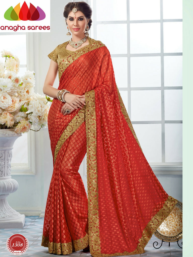 Rich Designer Georgette Saree -  Golden Red  ANA_292 Anagha Sarees