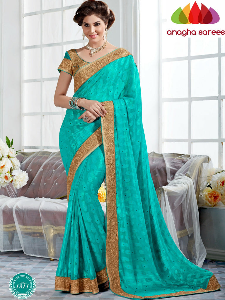 Anagha Sarees Georgette Saree Rich Designer Georgette Saree -  Greenish Blue  ANA_291