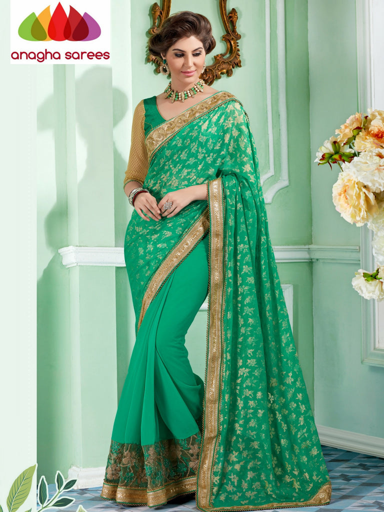 Rich Designer Georgette Saree - Light Green  ANA_298 Anagha Sarees