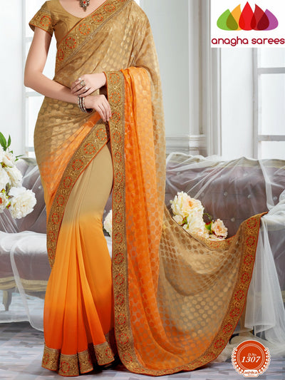 Rich Designer Georgette Saree - Orange/Beige  ANA_290 - Anagha Sarees