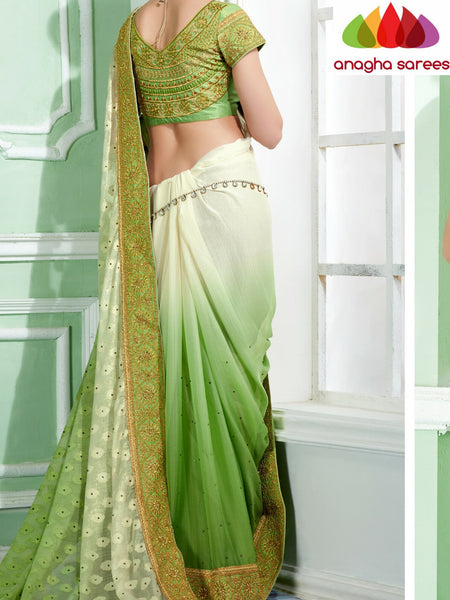 Anagha Sarees Georgette Saree Rich Designer Georgette Saree - Parrot Green/Cream  ANA_288