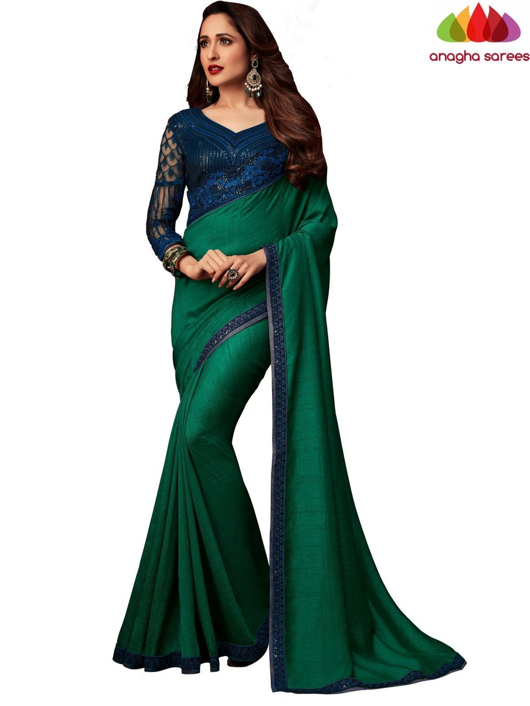 Anagha Sarees Georgette Silk Length=6.2 metres  Width=46 inches / Burgundy Designer Shiffon Crepe Silk Saree - Dark Green : ANA_L52
