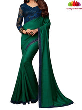 Anagha Sarees Georgette Silk Length=6.2 metres  Width=46 inches / Dark Green Designer Shiffon Crepe Silk Saree - Dark Green : ANA_L52