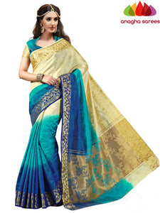 Designer Jacquard Semi-Silk Saree - Cream/Blue ANA_428