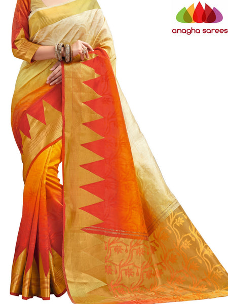 Designer Jacquard Semi-Silk Saree - Cream/Orange ANA_435 - Anagha Sarees