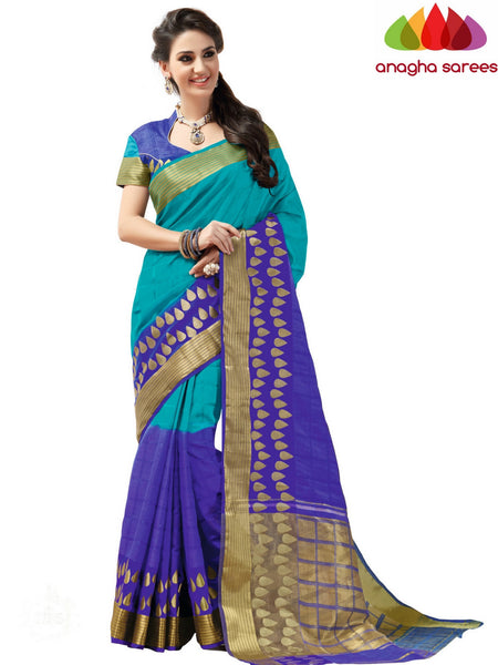Designer Jacquard Semi-Silk Saree - Light Blue/Royal Blue ANA_433