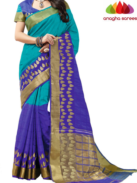 Designer Jacquard Semi-Silk Saree - Light Blue/Royal Blue ANA_433 - Anagha Sarees