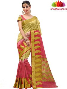Designer Jacquard Semi-Silk Saree - Light Olive Green/Pink ANA_442