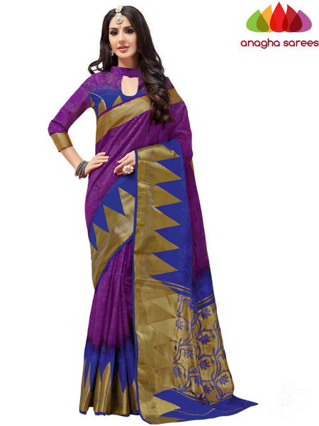 Designer Jacquard Semi-Silk Saree - Purple/Blue ANA_436