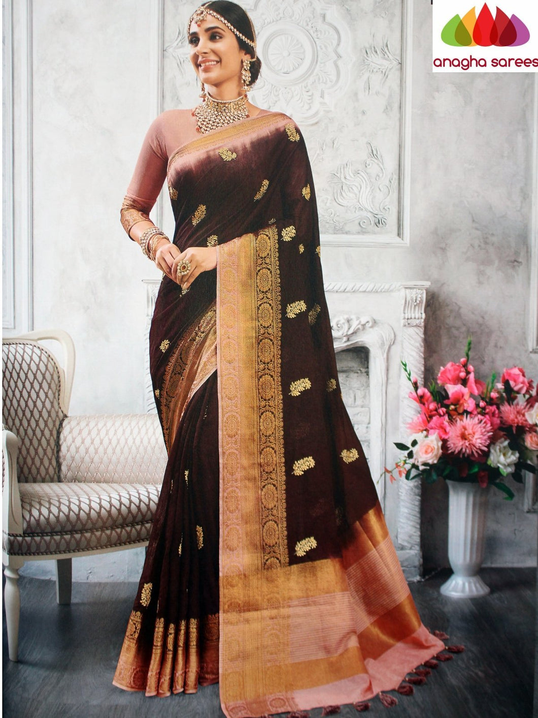 Anagha Sarees Jute Silk Length=6.3metres, width=45 inches / Brown Designer Jute Silk Saree - Brown : ANA_L29