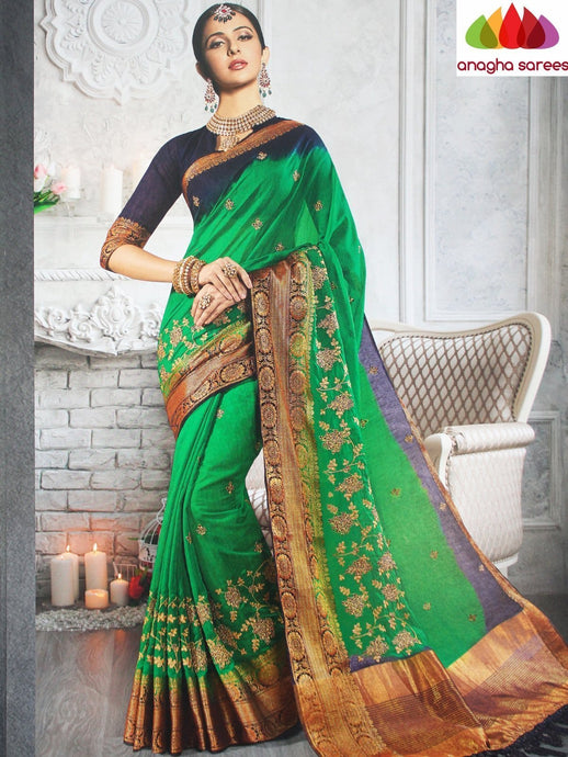 Anagha Sarees Jute Silk Length=6.3metres, width=45 inches / Green Designer Jute Silk Saree - Green : ANA_L21