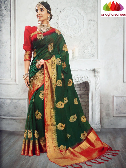 Anagha Sarees Jute Silk Length=6.3metres, width=45 inches / Green Designer Jute Silk Saree - Green : ANA_L28