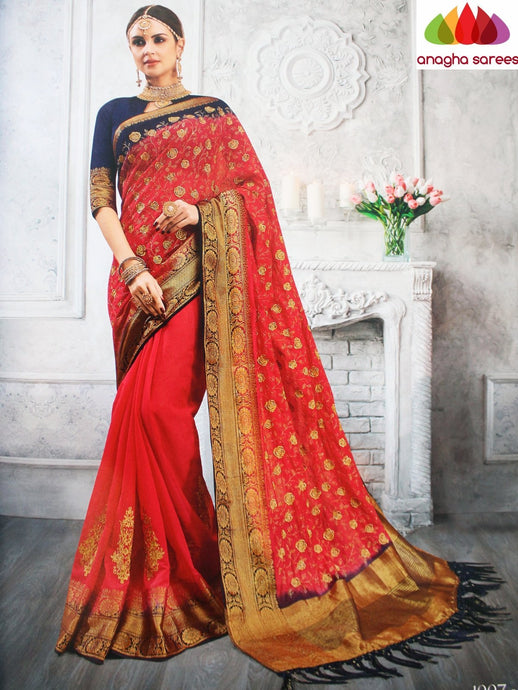 Anagha Sarees Jute Silk Length=6.3metres, width=45 inches / Red Designer Jute Silk Saree - Red : ANA_L26