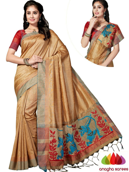 Designer Jute Silk Saree - Beige/Red ANA_846