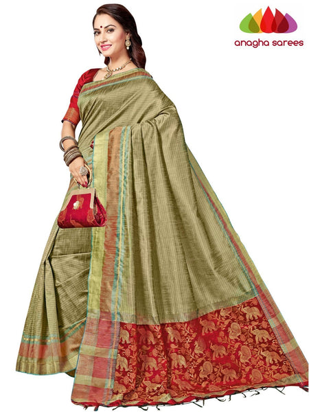Designer Jute Silk Saree - Beige/Red ANA_F89