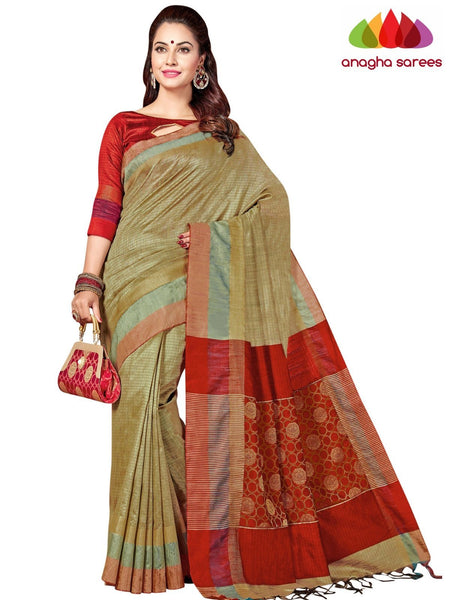 Designer Jute Silk Saree - Beige/Red ANA_F90