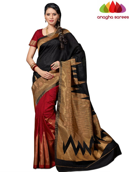 Designer Jute Silk Saree - Black/Red  ANA_531 - Anagha Sarees