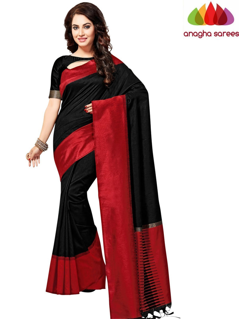 Designer Jute Silk Saree - Black/Red ANA_825 Anagha Sarees