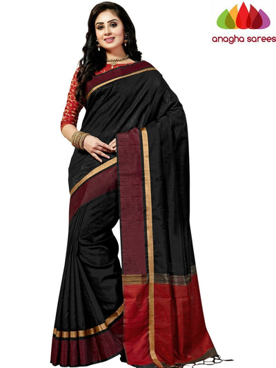 Designer Jute Silk Saree - Black/Red ANA_833 - Anagha Sarees