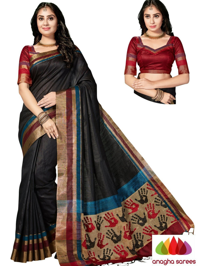 Designer Jute Silk Saree - Black/Red ANA_847 - Anagha Sarees
