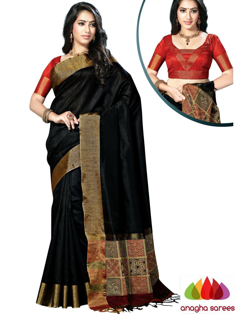 Designer Jute Silk Saree - Black/Red  ANA_890 Anagha Sarees