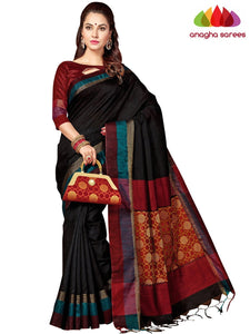 Designer Jute Silk Saree - Black/Red ANA_F93
