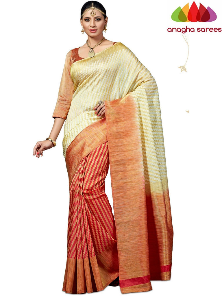 Designer Jute Silk Saree - Cream/Dark Peach  ANA_527 Anagha Sarees