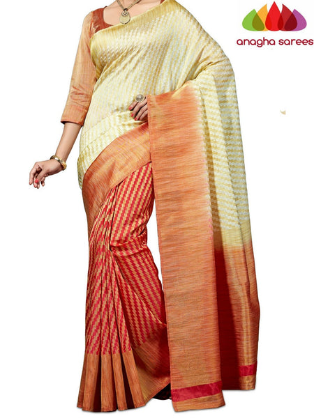 Designer Jute Silk Saree - Cream/Dark Peach  ANA_527 - Anagha Sarees