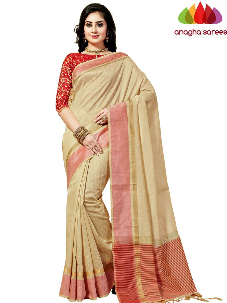 Designer Jute Silk Saree - Cream/Red ANA_834 Anagha Sarees