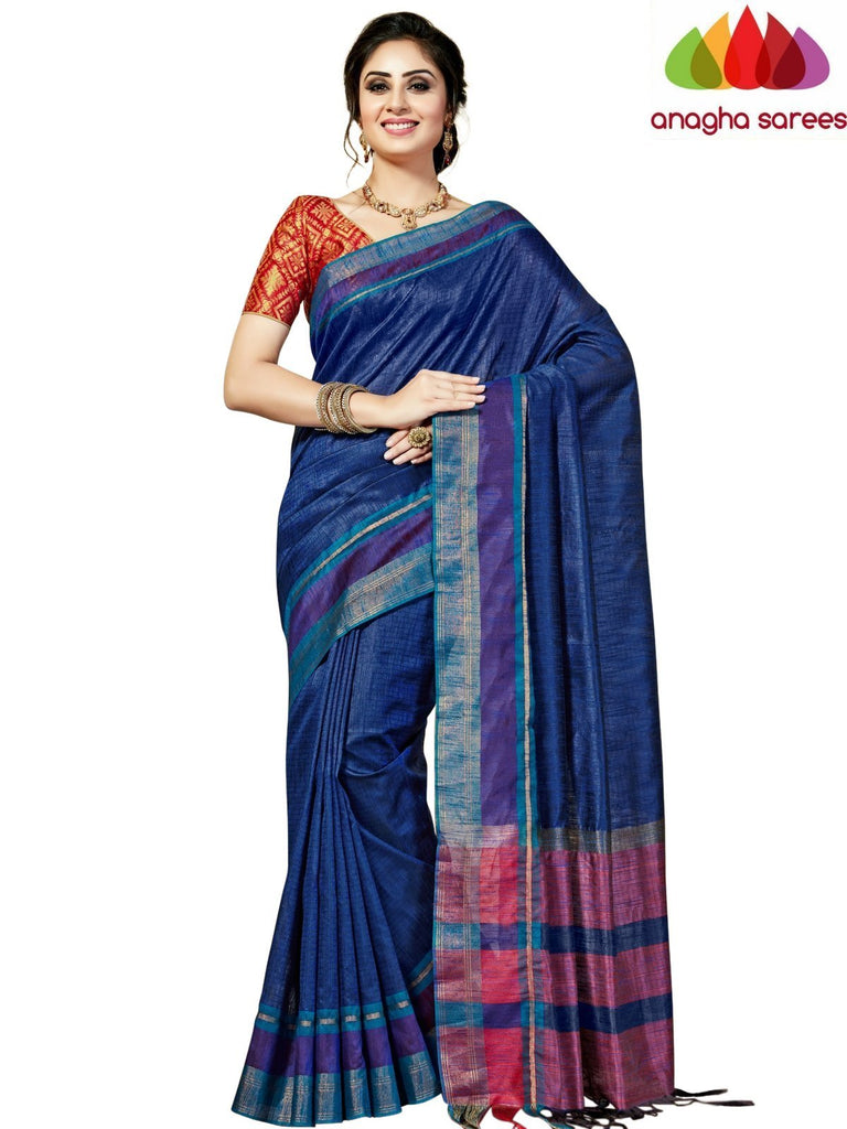 Designer Jute Silk Saree - Dark Blue/Red ANA_835 Anagha Sarees
