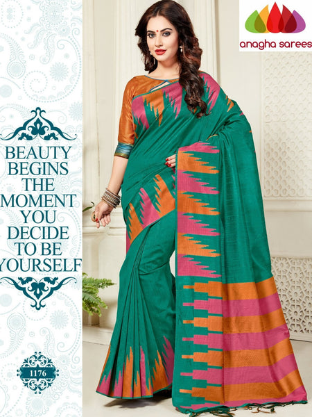 Designer Jute Silk Saree - Dark Sea Green/Mustard ANA_817