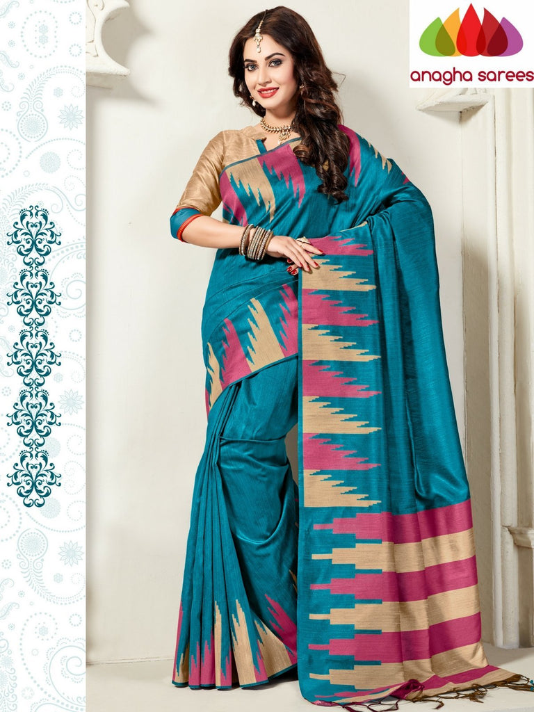 Designer Jute Silk Saree - Light Blue/Beige ANA_818 Anagha Sarees