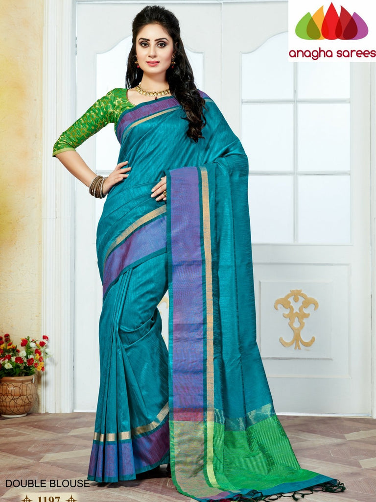 Designer Jute Silk Saree - Light Blue/Green ANA_839 Anagha Sarees