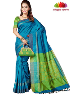Designer Jute Silk Saree - Light Blue/Parrot Green ANA_F94