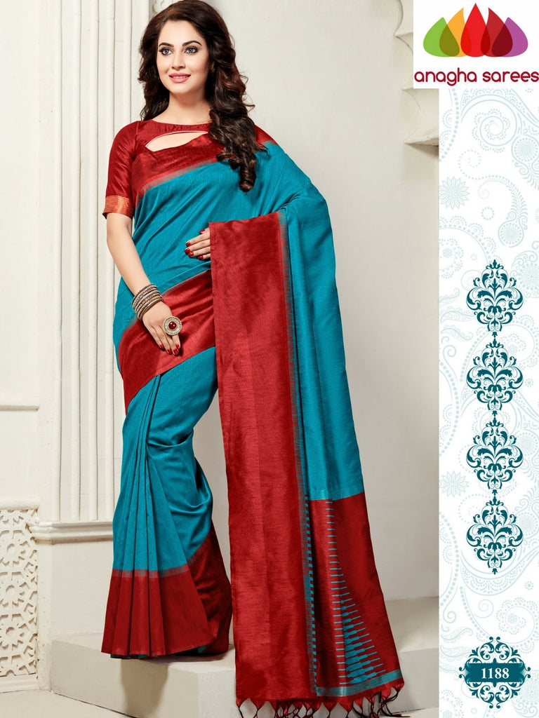 Designer Jute Silk Saree - Light Blue/Red ANA_828 Anagha Sarees