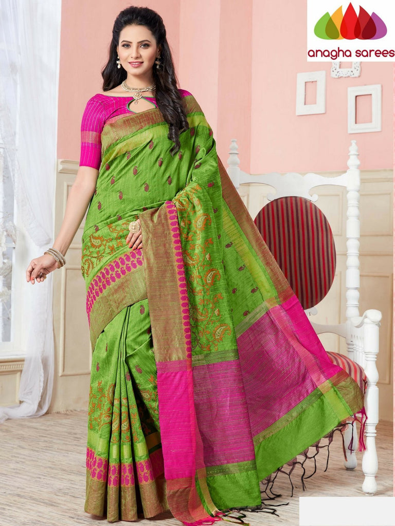 Designer Jute Silk Saree - Light Green ANA_689 - Anagha Sarees