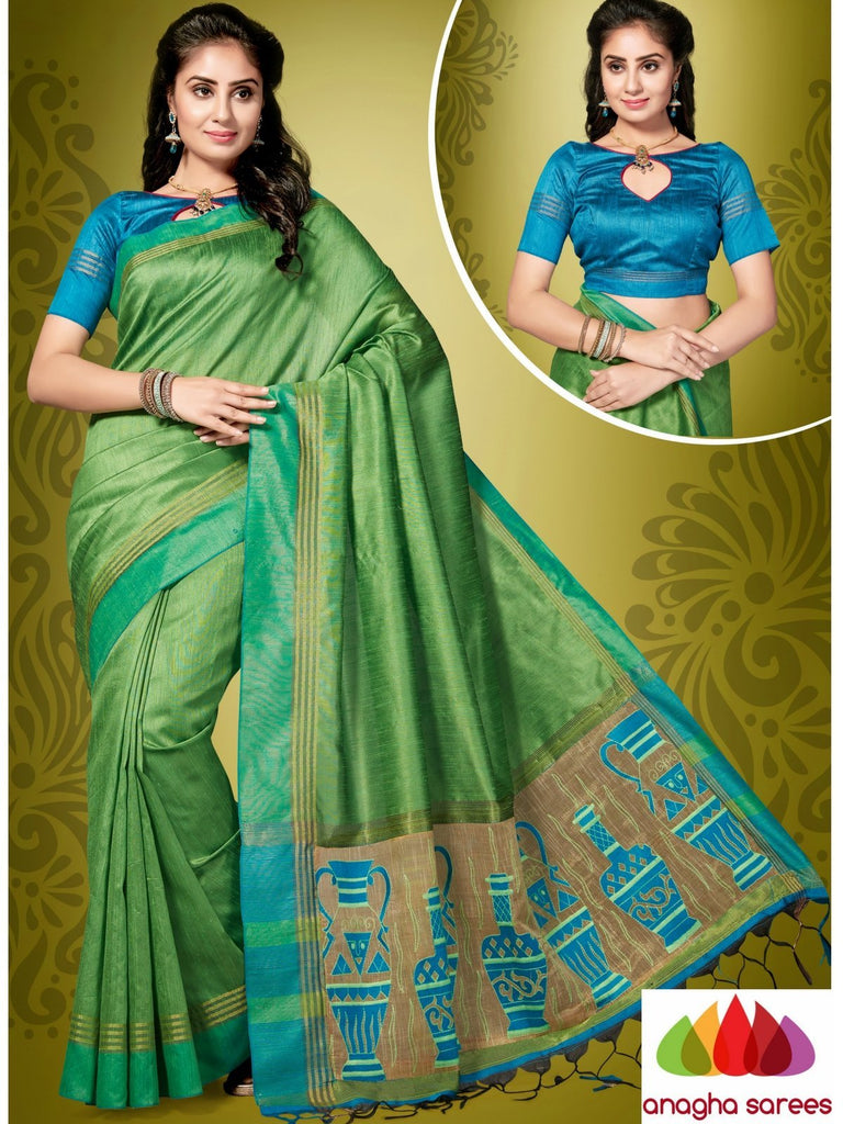 Designer Jute Silk Saree - Light Green/Blue ANA_854 Anagha Sarees