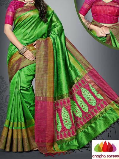 Designer Jute Silk Saree - Light Green/Pink  ANA_897 - Anagha Sarees
