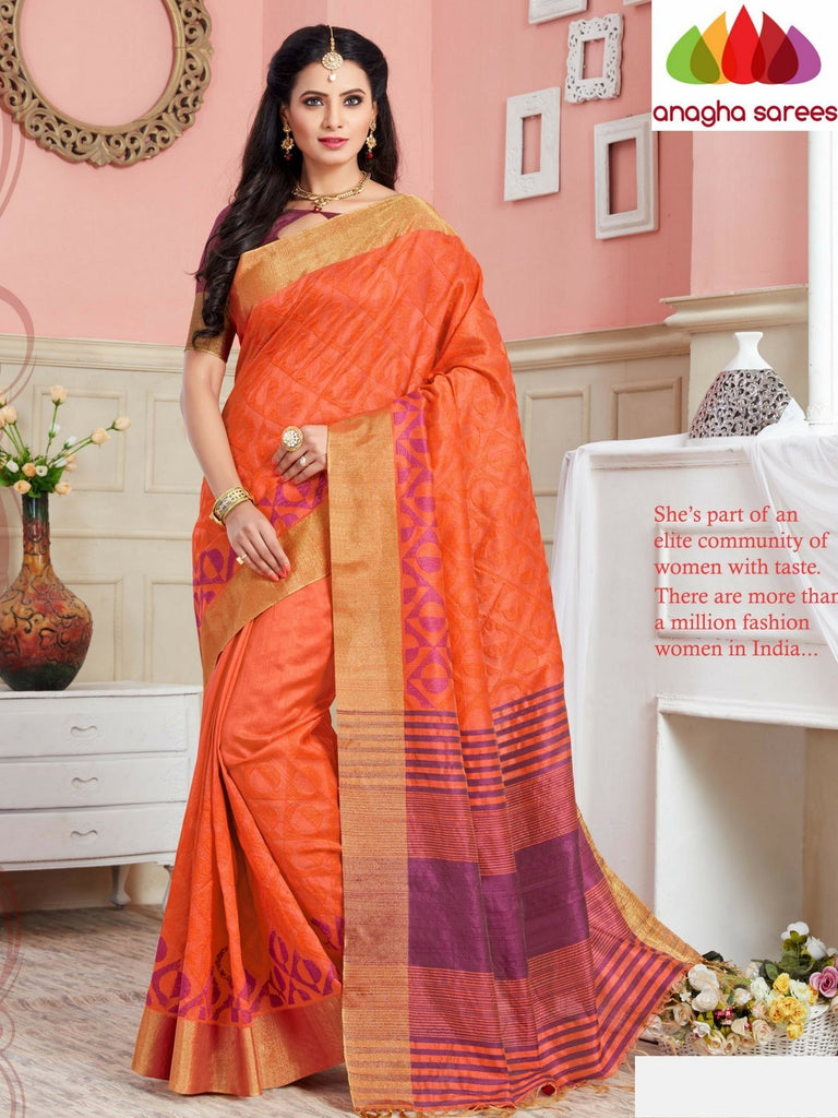 Designer Jute Silk Saree - Orange ANA_698 Anagha Sarees