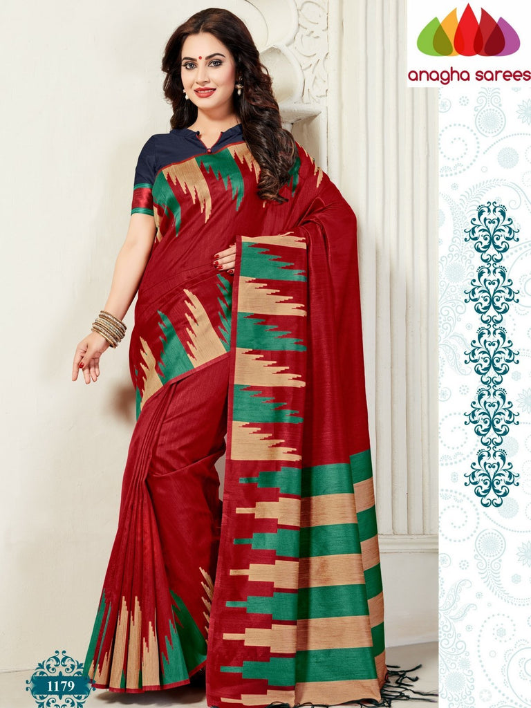 Designer Jute Silk Saree - Red/Blue ANA_822 - Anagha Sarees