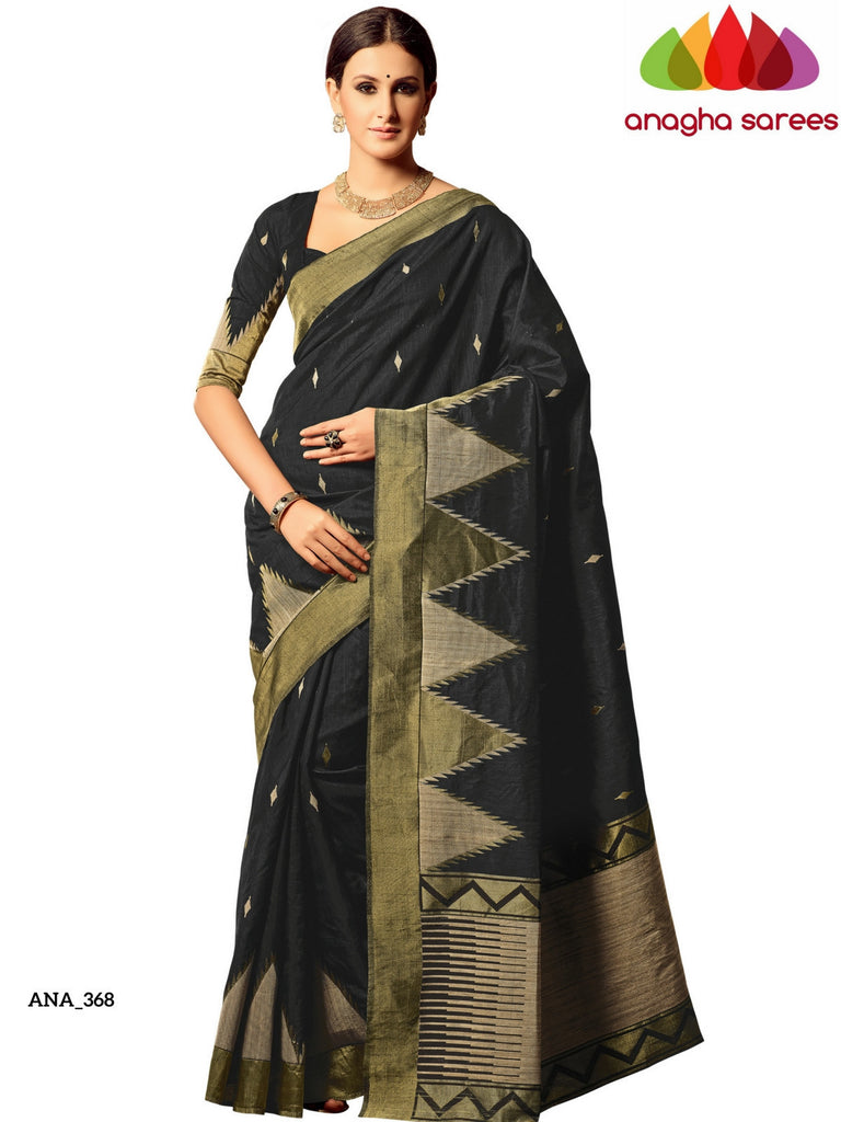 Jute Silk Designer Saree - Long Border Black ANA_368 Anagha Sarees