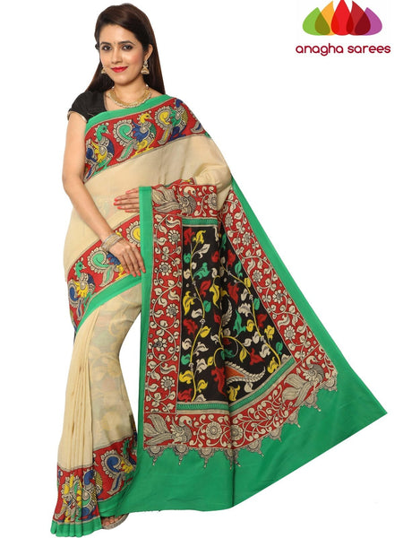 Anagha Sarees kalamkari silk saree Hand Drawn Kalamkari Silk Saree - Multicolor : ANA_E81