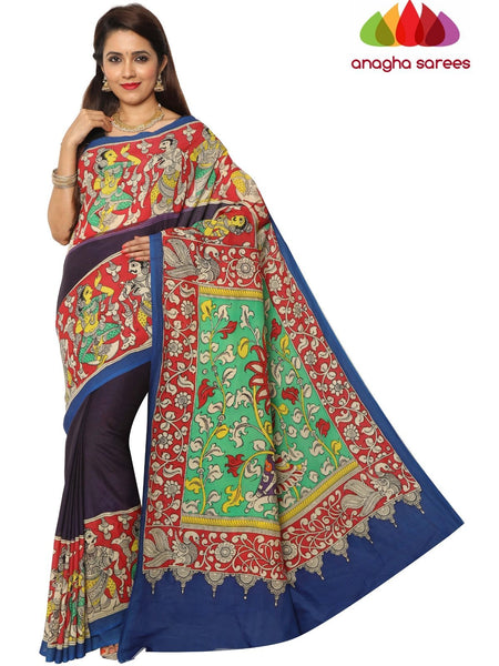 Anagha Sarees kalamkari silk saree Hand Drawn Kalamkari Silk Saree - Multicolor : ANA_E82