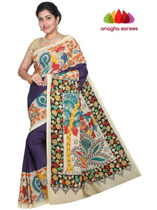 Hand Drawn Kalamkari Silk Saree - Multicolor : ANA_G69