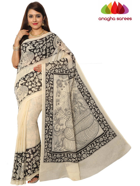 Anagha Sarees Kalamkari soft cotton saree Hand Drawn Kalamkari Soft Cotton Saree - Black & White : ANA_E73