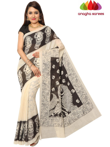 Anagha Sarees Kalamkari soft cotton saree Hand Drawn Kalamkari Soft Cotton Saree - Black & White : ANA_E74